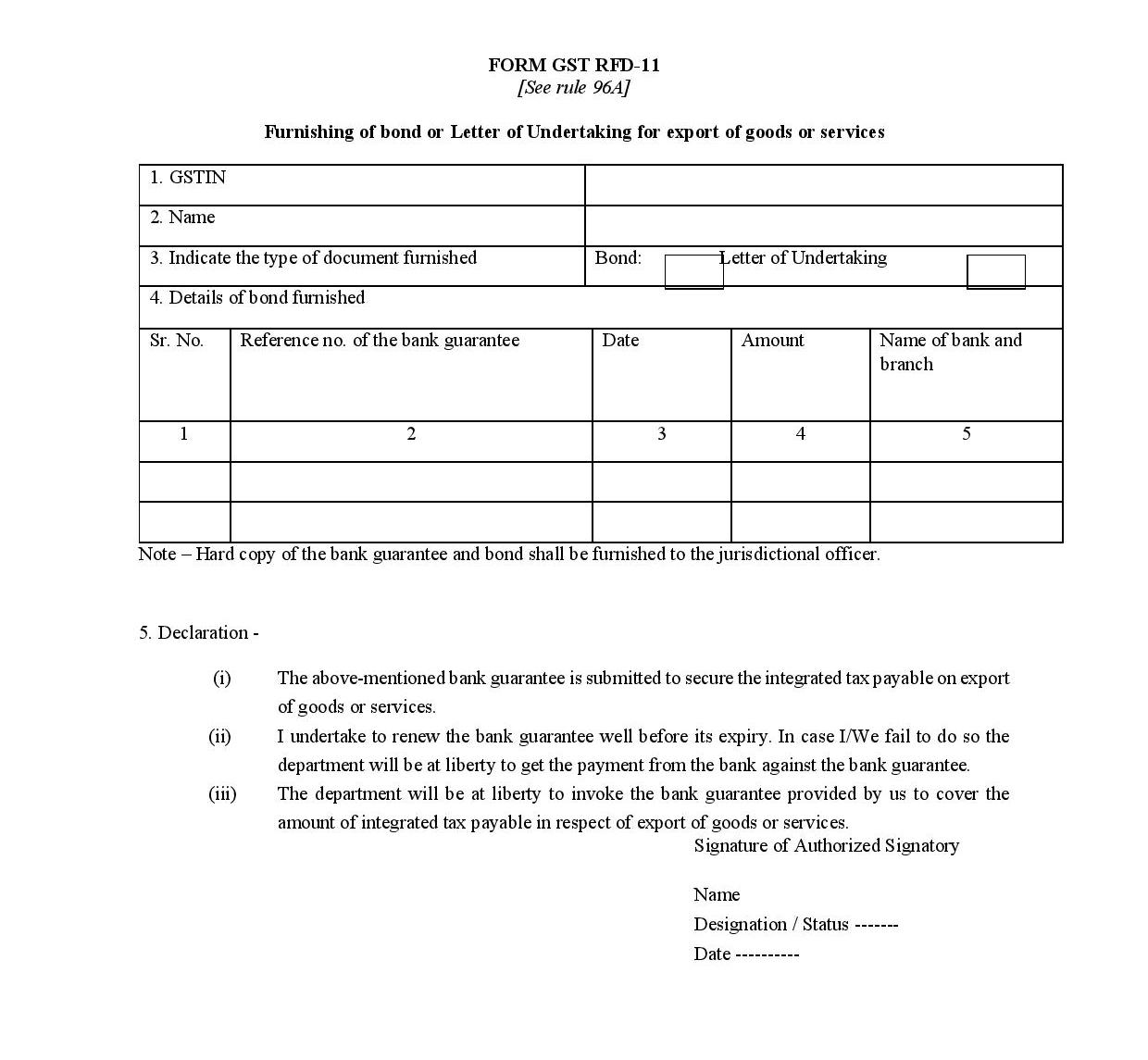 Gst export procedure under bond or letter of undertaking ritul form gst rfd 11 letter of undertaking thecheapjerseys Choice Image