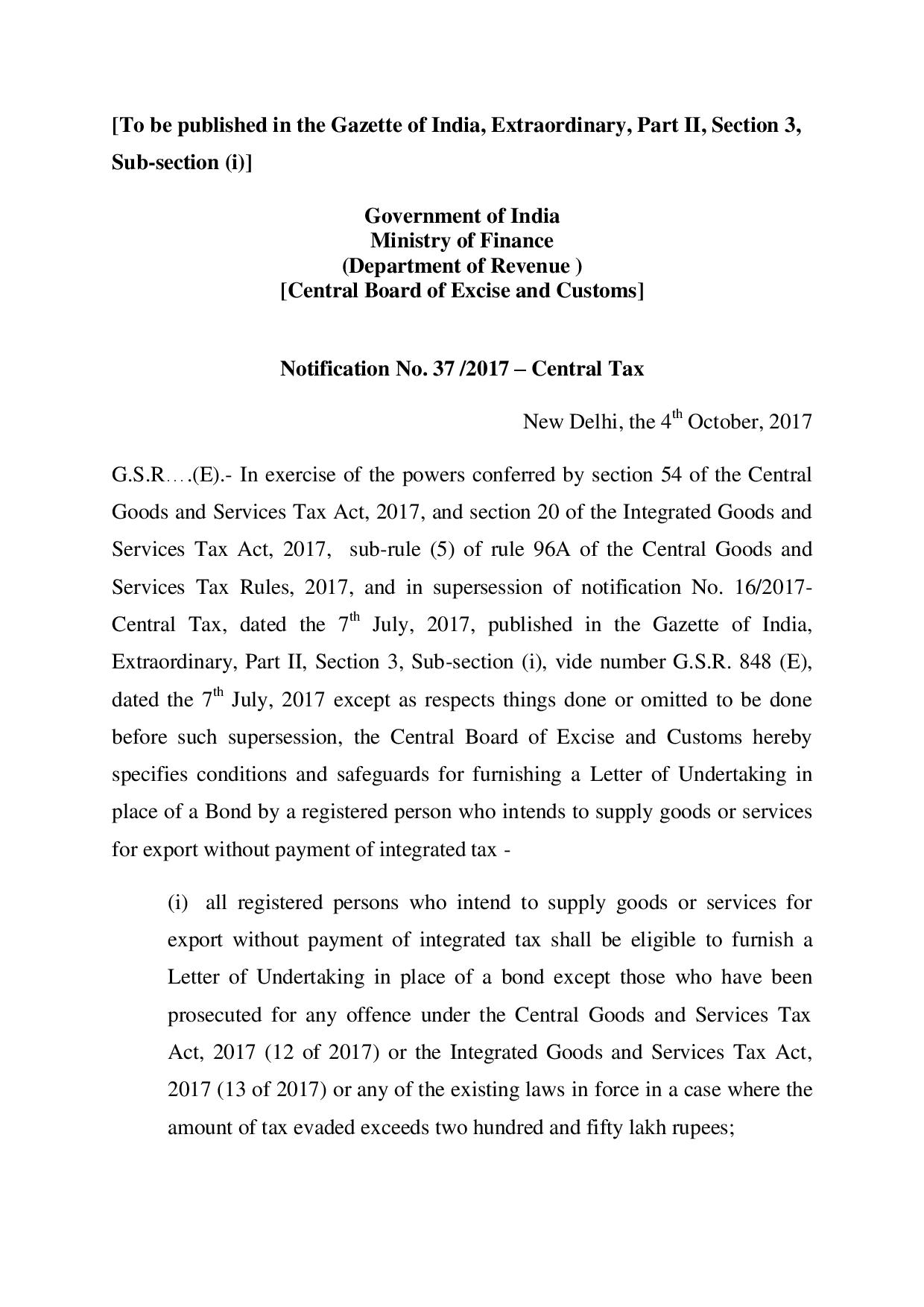 Revised Requirements For Letter Of Undertaking Lut Under Gst For