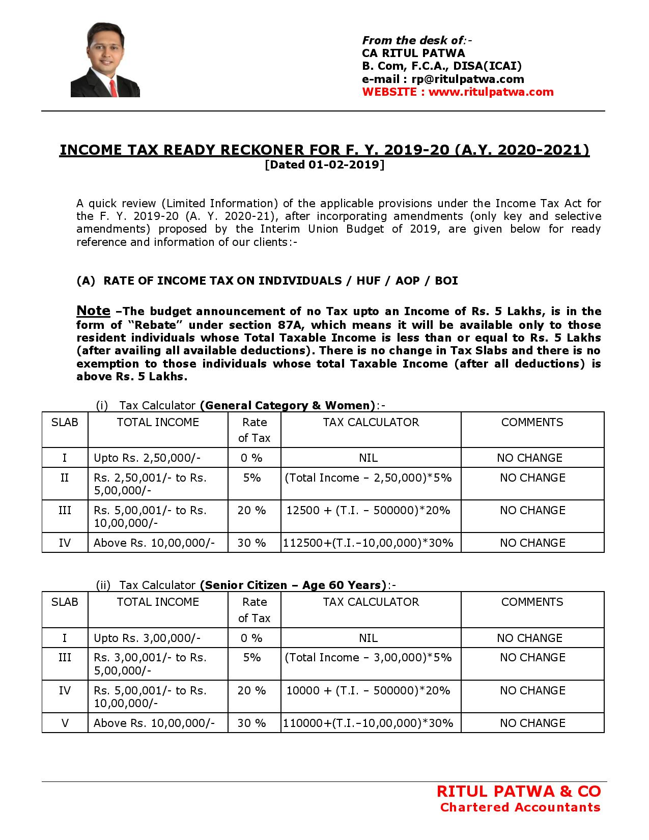BUDGET 2019 - INCOME TAX RATE, DEDUCTION & PROVISIONS-page-001